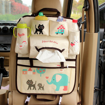 Auto Cartoon Car Seat Bag Organizer Holder Multi Pocket Travel Storage Hanging Bag