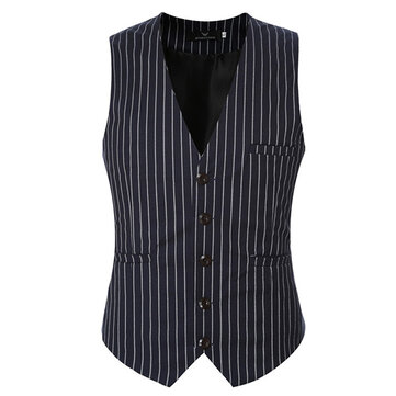 Mens Casual Vertical Stripes Business Slim Short Waistcoats V-neck Dress Suit Vest