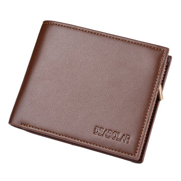 Men Short Trifold Business Slots Coin Bag Wallet