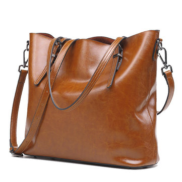 Women Retro Genuine Leather Oil Wax Bucket Handbag Large Capacity Crossbody Bag