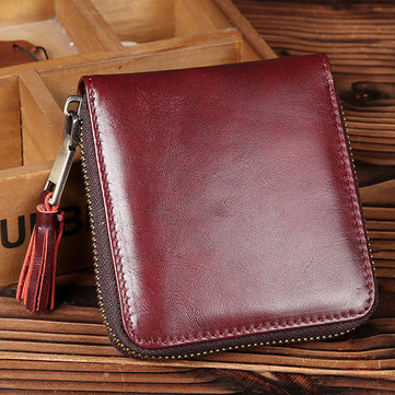 Women Genuine Leather Coin Bag Vintage Elegant Short Wallet Zipper Purse