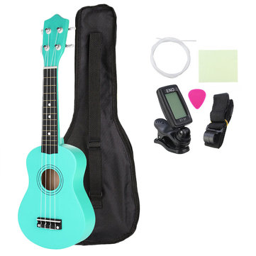 21 Inch Basswood Soprano Ukulele with Gig Bag Tuner Green