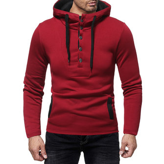 Men's Casual Slim Cotton Buttons Drawstring Hoodies Long Sleeve Sweatshirts