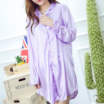 Sexy Ice Silk Thin Shirt Dress Pure Color Silky Soft Turn-down Collar Nightdress For Woman