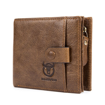 Bullcaptain Men Cowhide 9 Card Slots Zipper Coin Bag Wallet