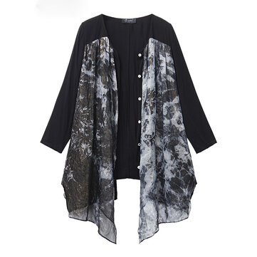 L-5XL Vintage Women Loose Long Sleeve Irregular Printing But