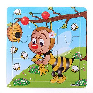 9pcs juguete diy entrenamiento niños rompecabezas bebé rompecabezas abeja madera