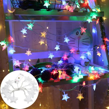 1.2M Battery Powered Colorful 10 LED Star Photo Clip Hanging Peg Fairy String Light Wedding Decor