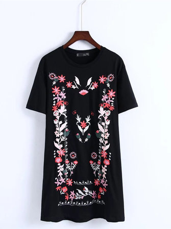Flowers embroidered O-Neck Short Sleeve Casual Women Mini T-shirt Dresses