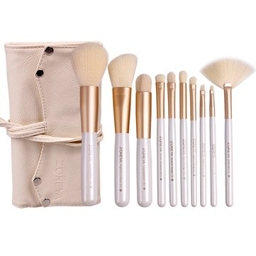 Zoreya 10Pcs Profesional Cosmetic Makeup Brush Nylon Hair Foundation Eyeshadow Blush Makeup Brushes