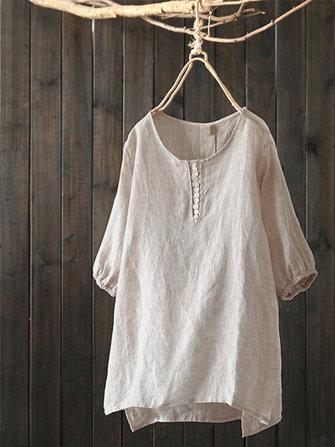 Vintage Women Cotton Linen Solid Color Crew Neck Puff Sleeve Blouse