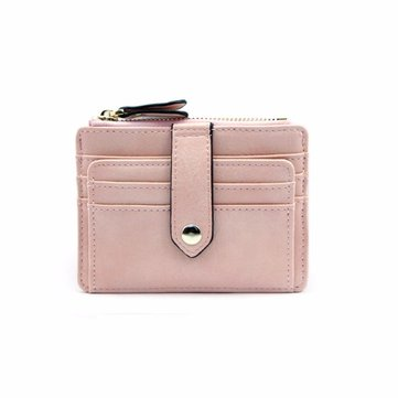 Women Durable Pu Leather Mini Wallet Portable 6 Card Slot Purse