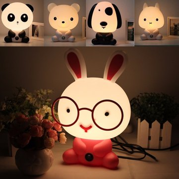 Lovely Baby Kid Bedroom Desk Night Light Dog Bear Rabbit Panda Cartoon Lamp 220V