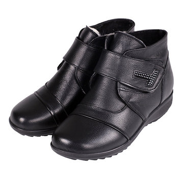 Genuine Leather Women Cotton Boots Keep Warm Casual Ankle Boots