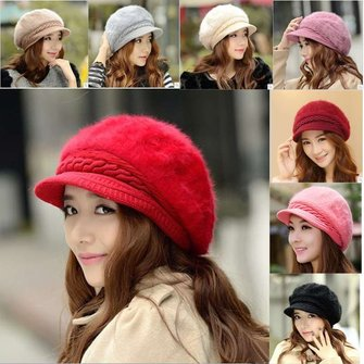 Women Girl Rabbit Fur Knitted Screw Beanie Hat Beret Snapback Winter Soft Cap