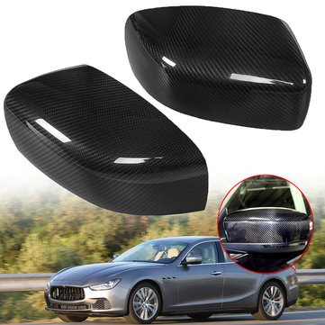 Pair Real Carbon Fiber Car Rear View Mirror Cover Caps for Maserati Ghibli/Quattroporte 2013-2016