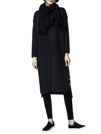Women Elegant Long Sleeve Side Split Loose Knitted Sweater Dress