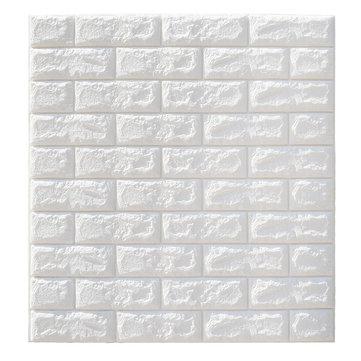 5Pcs 3D Waterproof Tile Brick Wall Sticker Self-adhesive White Foam Panel 70x77cm
