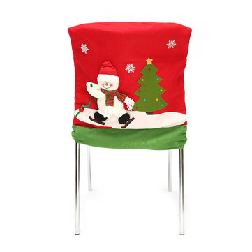 Christmas Party Home Decoration 3D Stereo Snowman Dining Table Chair Back Cover Toys Supplies