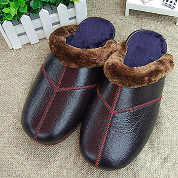Warm Faux Fur Lining Slip On Warm Home Slippers Casual Indoor Shoes