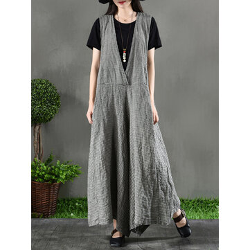 Plus Size Vintage Grid Sleeveless Cotton Linen Jumpsuit