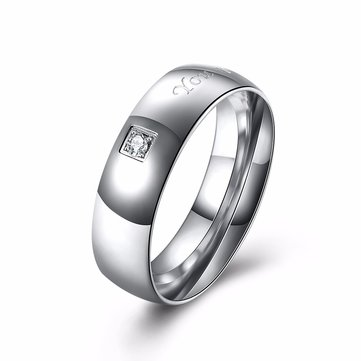 Letter Words Stainless Steel Zircon Couple Ring Men Jewelry Birthday Gift For Wedding