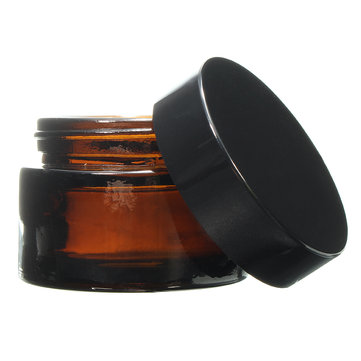 30mL Brown Amber Glass Small Jar Round Empty Black Lid Cream Balm Jar Container