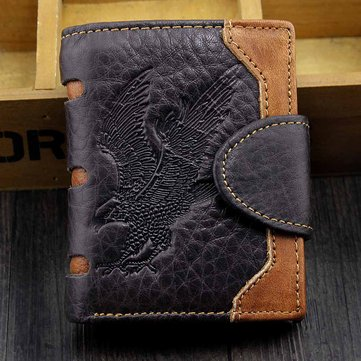 Men Genuine Leather Vintage Dragon/Eagle Printed Walle