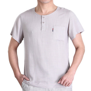 Men's Casual Linen T-shirt Summer Button Pocket Short Sleeved Tops Tees