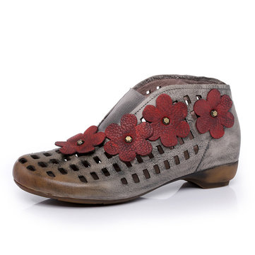 SOCOFY Genuine Leather Floral Handmade Hollow Out Retro Boots