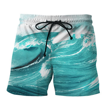 3D Waves Printing Summer Casual Holiday Beach Board Shorts
