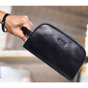 Men Genuine Leather Phone Pocket Large Capacity Travel Sports Clutch Bag