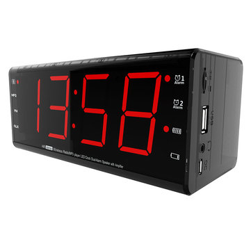 LEADSTAR MX-20 Wireless bluetooth Speaker Dual Unit LED Display Clock TF Card Stereo Bass Subwoofer