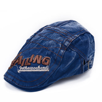 Mens Vintage Beret Hat SAILING Embroidery Washed Cotton Paper Boy Cap