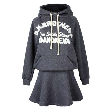 Casual Women Letter Printing Hooded Two-piece Skirt Tracksuit