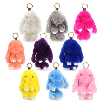 180mm Faux Rabbit Fur Keychain Bunny Ball Doll Key Ring Charm Handbag Pendant