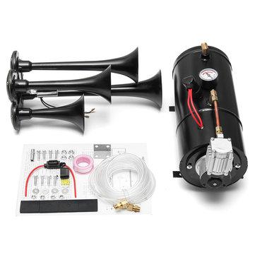 2-Trumpet Train Air Horn 12V Compressor Tubing 150 dB 170 PSI Kit 3L for Car Truck Campers