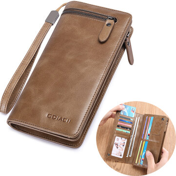 Men Multi-functional Business Vintage Fashion Genuine Leather Long Wallet Clutch Bag