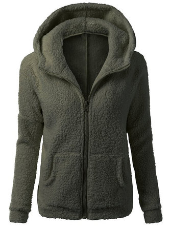 S-5XL Women Casual Fleece Warm Winter Hooded Coat