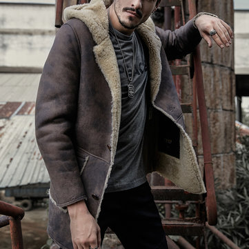 Mens Winter Thick Faux Leather Shearling Coat PU Jacket