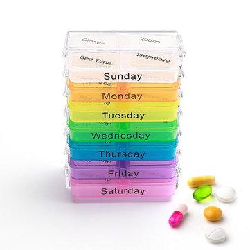 KCASA KC-JS0703 Organiseur portatif de cas de pilule Hebdomadaire Voyage Medicine Box Comprimés Case Holder