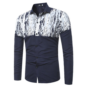 Men Print Patchwork Long Sleeve Shirts