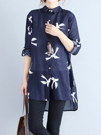Casual Women Lapel Print Button High Low Hem Long Sleeve Shirts