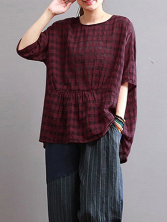 Women Retro Plaid Linen Cotton Irregular Blouse