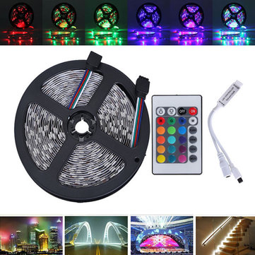 5M SMD2835 Waterproof 300 LED RGB Flexible Strip Light + Mini 24 Keys IR Remote Controller DC12V