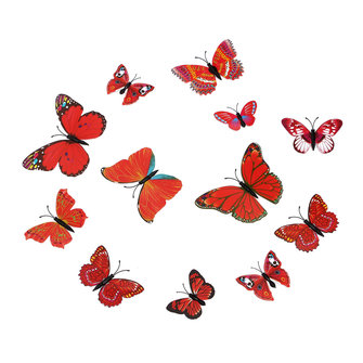 12Pcs 3D Stickers Red Butterfly Wall Decals Home Wedding Party Decoration