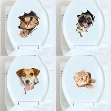 Honana BD-548 3D Broken Wall Kitten Doggie Wall Sticker Toliet Sticker Bathroom Decoration Decal