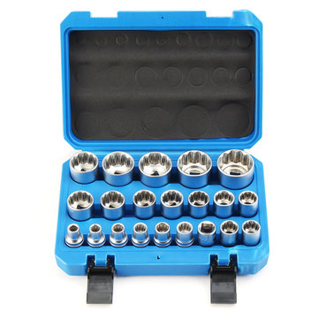 21Pcs 50BV30 Socket Inserts Kit Set Steel 12 Point 8-36mm