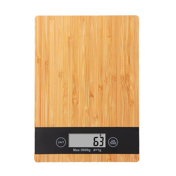 KCASA KG-21 Electronic Digital High Accuracy Rectangle Bamboo Panel LCD Screen Unit Switch Kitchen Bake Scale