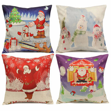 Christmas Santa Claus Gift Cotton Linen Throw Pillow Case Sofa Home Car Cushion Cover